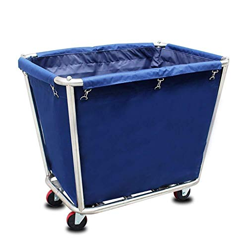 Dr Heavy-Duty Laundry Hamper with Wheels Commercial Laundry Cart with Steel Frame Canvas Linen Cart Laundry Hamper with Casters Simple Houseware Laundry Storage Cart Color  Blue