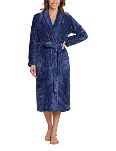 Schiesser Damen Morgenmantel, 120cm Bademantel, blau, 038