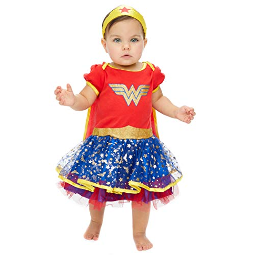 DC Comics Wonder Woman Baby Mädchen Kostüm Body Kleid mit Tiara Stirnband & Cape, Gold 0-3 Monate