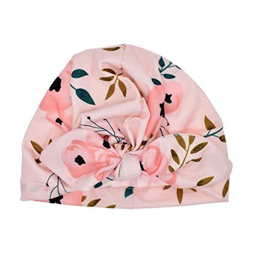 babysbreath17 Nouveau-né Turban Bébés Filles Floral Headwrap Bowknot Cap Enfant en Bas âge Comfy Fleur Chaud Bonnet 1 19.5x15.5cm