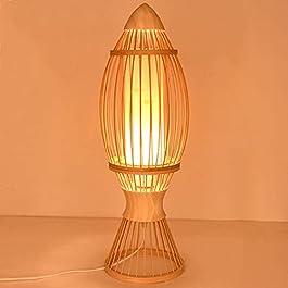 CYLYFFSFC Lampadaire Bambou rotin Lampe de Table Style Japonais Simple Lampe de Chevet Bambou Salle d'étude en Bois…