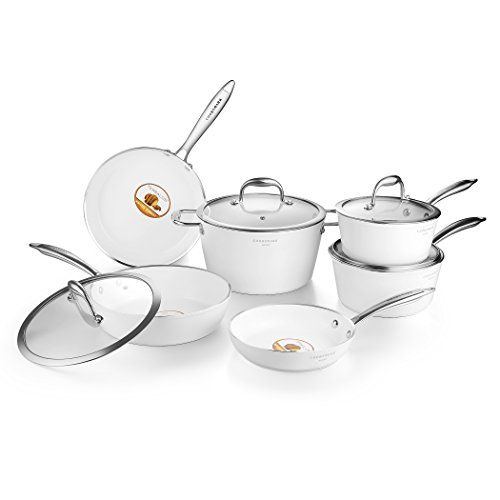 COOKSMARK Nonstick Ceramic Cookware Set, Induction & Dishwasher Safe Scratch-Resistant Pots and Pans Set with Glass Lids 10 Pieces, White