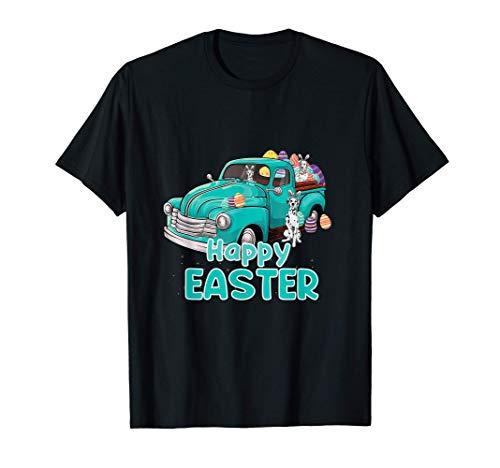 Bunny Dalmatian happy easter day truck dog men women kid Camiseta