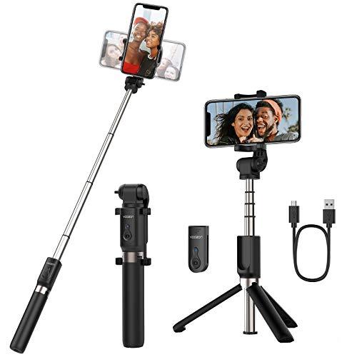 Yoozon Bluetooth Selfie-Stick Stativ mit Fernbedienung, 360°Rotation 3 in 1 Wireless Selfie Stange Monopod kabellos kompakt für iPhone Android Samsung 3,5-6 Zoll Smartphones