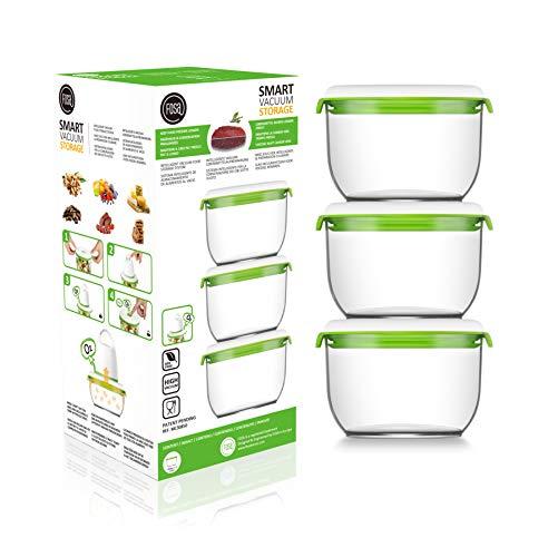 FOSA 3 recipientes Redondos de 850 ml para Sistema Patentado de envasado al vacío doméstico, automático e inalámbrico Conserva Cualquier alimento más Tiempo – Plástico Premium de Nivel Sanitario