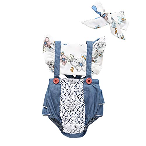 New MeisiqwNewborn With Headband Toddler Baby Girl Floral Sleeveless Bodysuit Romper Jumpsuit Outfit...