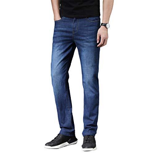 Beastle Jeans para Hombres Pantalones Vaqueros elásticos de Pierna Recta de Negocios Europeos y Americanos Pantalones de Mezclilla Ajustados Simples Retro 30