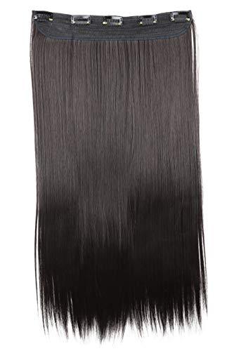 PRETTYSHOP Clip In Extensions Haarverlängerung Haarteil Glatt 60cm schwarzbraun #1 C52