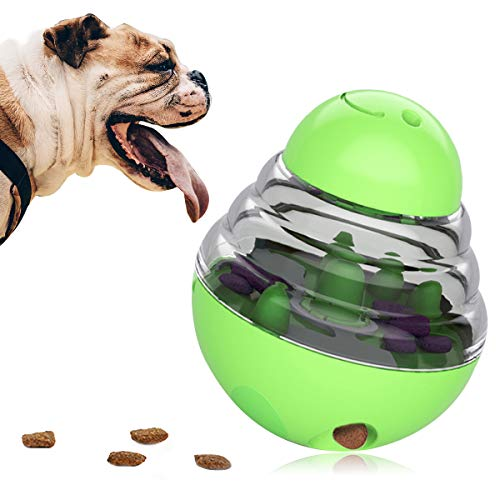 Dog Food Dispenser Ball Toy Interactive Puzzle Treat BallSlow Feeder Pet Food Treat BallTumbler Design Iq Ball for Puppy Small to Medium Cats Dogs and PetsGreen