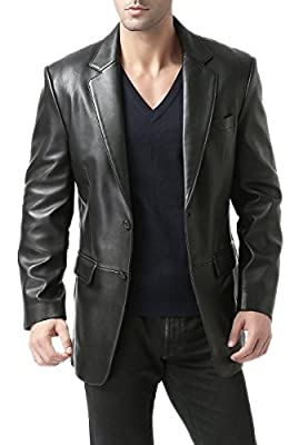 BGSD Men's Richard Classic 2-Button Lambskin Leather Blazer Black Large Tall by