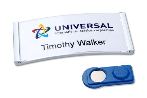 badgepoint polar30-Set, Edelstahl-Optik (20 Namensschilder magnetisch, inkl. 5x A4-Druckbogen für 90 Namenskarten, 70x30mm, selbstbeschriftbar) verrutschsicher, Magnet-Namensschild für Kleidung