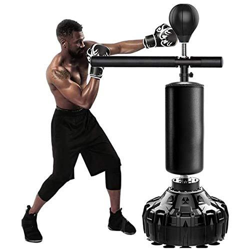 Freistehender Schwerer Trainingsboxball Mit Reflexstange, Höhenverstellbarer Lochkugel-Geschwindigkeitstasche, Boxsack Solider Boxsack Mit Saugnapf(Color:schwarz,Size:170cm)