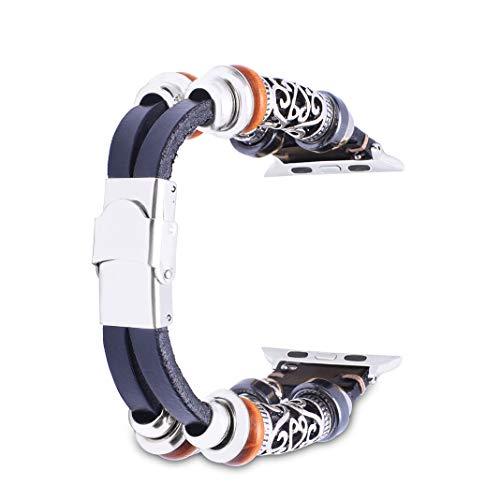 HuaForCity Bracelet Compatible pour Apple Watch 42mm en Cuir,iWatch Bande Remplacment,Bracelet de Montre pour Homme et Femme pour Apple Watch Series 1 Series 2 Series 3,42mm Sport & Edition Noir