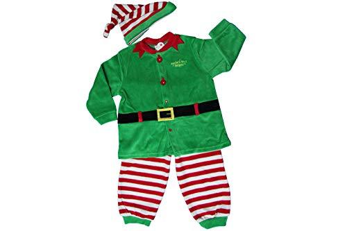 Tuta Tutina Elfo di Babbo Natale Bambino 2 Pezzi Rosso Ciniglia Varie Misure-18 Mesi