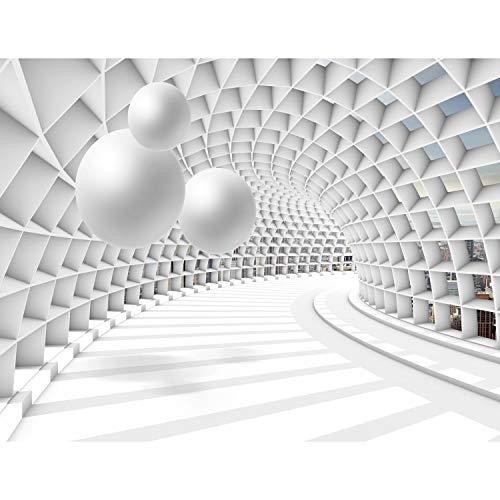 Fototapete 3D Abstrakt 352 x 250 cm Vlies Tapeten Wandtapete XXL Moderne Wanddeko Wohnzimmer Schlafzimmer Büro Flur Weiss 9223011c