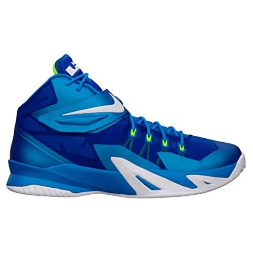 Nike Mens Zoom Soldier VIII Basketball Shoes, Photo Blue/White/Volt-Hyper