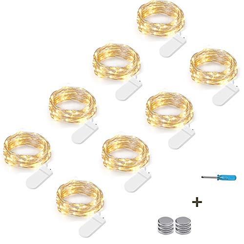 NEXVIN 3M 30 LED Lichterkette Batterie Kupfer Drahtlichterkette Warmweiß, 8er Stück Micro Lichterkette Batteriebetrieben Lichter Flasche Dekoration (Kommen mit 6 Ersatzbatterien)