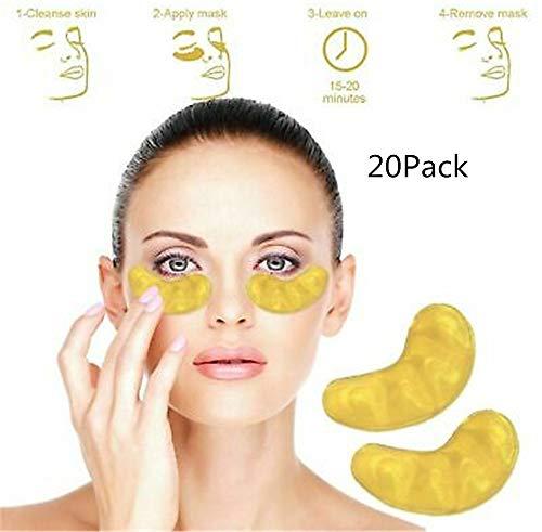 24k Gold Eye Mask, Debajo De Parches para Los Ojos, Almohadillas de Gel para Los Ojos, Tratamiento de Bolsas para Los Ojos, Círculos Oscuros Antienvejecimiento y Arrugas de Hinchazón (20 pack)