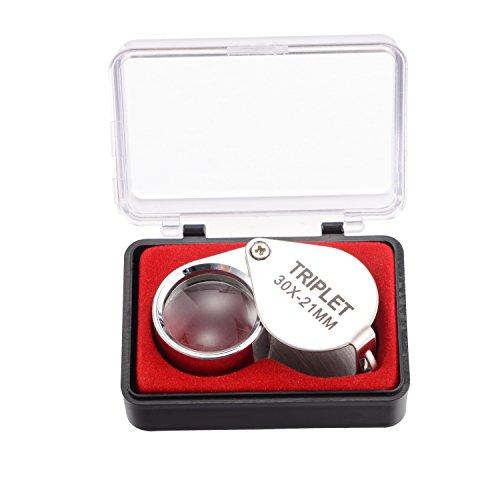 Changshengda Lupe für Schmuck, 30-fache Vergrößerung, aus Metall, faltbar, für wissenschaftliche Dokumente, Juweliere