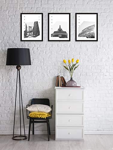 MILUKA Pack de 3 láminas para enmarcar colección Coordinates (Láminas Ciudades - Viajes)   Brooklyn, PARÍS y Roma   Tamaño 30x40cm