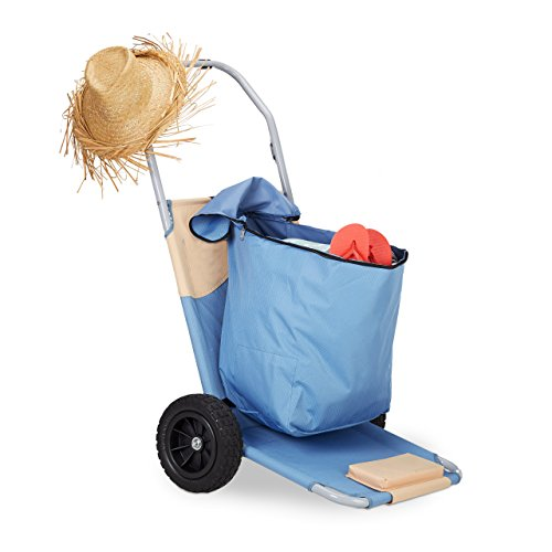 Relaxdays Beach Cart Lounger with Bag, Folding Trolley with Wheels, Backrest Adjustable in 5 Places, Blue