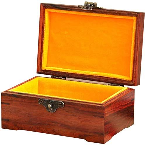 Caja de joyería caja de madera grande rectangular pequeña caja de madera caja de almacenamiento personalizado caja de madera sello brocado caja caja d...