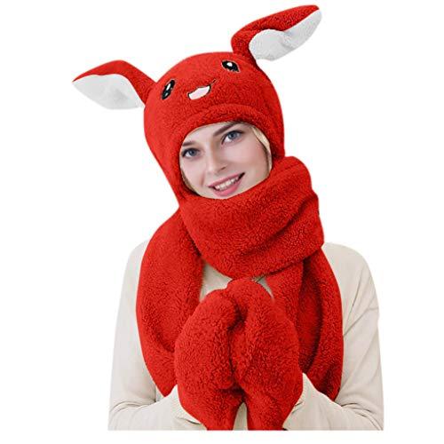 Rifuli Warmen Mütze Netter 3 IN 1 Hut Wintermütze Handschuh-Schal kann Airbag-Magnet-Kappen-Plüsch-Tanz-Kaninchen-Ohr bewegen Kunstfell Wollmütze