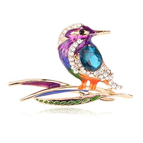 JKDFGJ Mode Strass niedlichen Vogel Specht Pin Broschen für Frauen Farbe Pin Kristall Tier Vogel Weihnachtsschmuck Geschenke