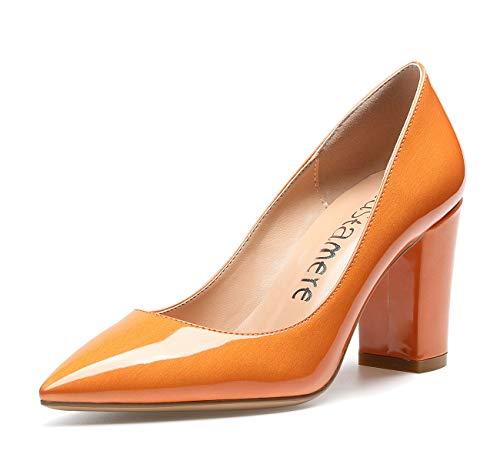 CASTAMERE Damen High Heels Spitzen Blockabsatz Pumps 8CM Perlglanz Orange Schuhe EU 43