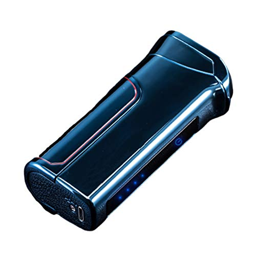 Electric Cigar Lighter USB Rechargeable Flameless Windproof Electronic Pulse Double arc Cigarette free Plasma Lighter with Replaceable Battery for Smoking Camping Bbq Stove,Blue