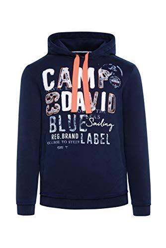 Camp David Herren Hoodie mit Raw Edges und Used Artwork, Blue Navy, XL