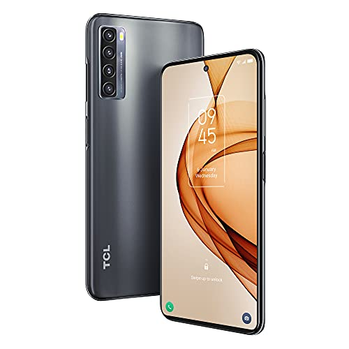 """TCL 20S Unlocked Android Smartphone with 6.67"""" Dotch FHD+ Display, 64MP Quad Rear Camera System, 128GB+4GB RAM, 5000mAh Battery with Fast Charging, Milky Way Black"""