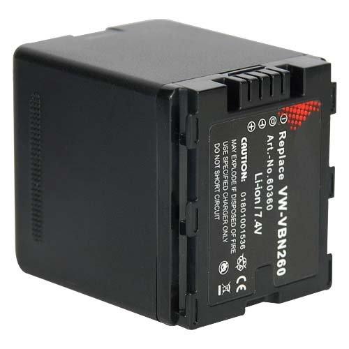 Akku für Panasonic Full HD 3MOS HC-X900M, HC-X909, HC-X800, HCX900M, HCX909, HCX800 VW-VBN260 VW-VBN 260 VW-VBN180 - 2100mAh