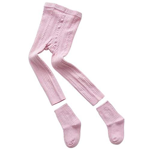 Junlinto Baby Kids Panty Legging Broek Sokken Set Geribbelde Effen Kleur Winter Warmer Katoen 3 M