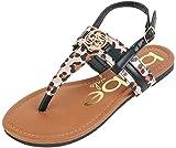bebe Girls Leopard Thong Sandals with Adjustable Strap, Black, Size 4'
