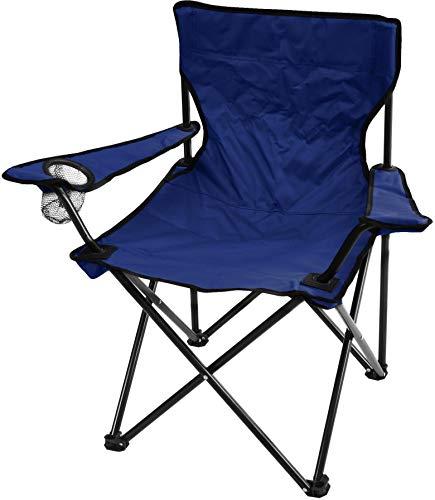 normani Campingstuhl Faltstuhl Klappstuhl Anglerstuhl Getränkehalter Stuhl Gartenstuhl für den Sommer Farbe Marine mit Armlehne