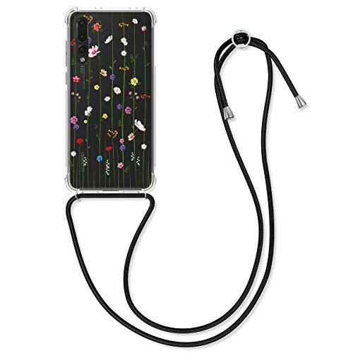 kwmobile Carcasa con Cuerda Compatible con Huawei P20 Pro - Funda de TPU con Colgante Flores Colores Multicolor/Transparente