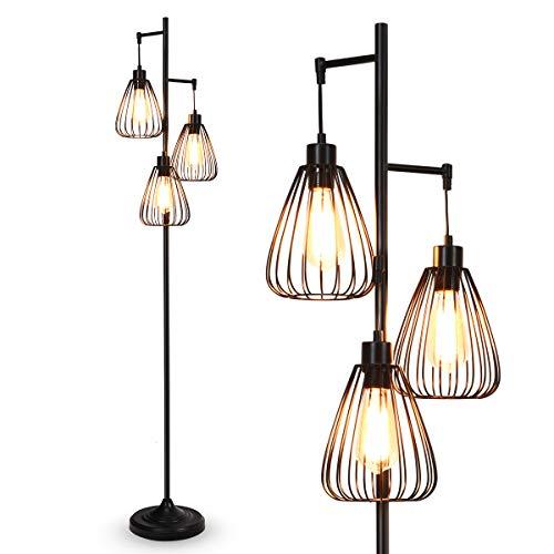 COSTWAY Stehleuchte 3 flammig, Standlampe Industrial, Stehlampe Vintage, Retro Bodenleuchte 170cm hoch / 193cm Kabel / E27 (Birne Nicht enthalten)