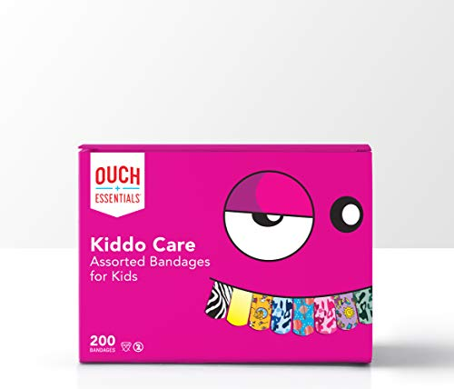 Ouch Essentials Kiddo Care - Kids Adhesive Bandages, Assorted Styles, 200 Ct