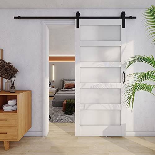 TENONER DIY Glass Sliding Barn Door, 36 inches x 84 inches, White, with Barn Door Hardware Kit,Need to Assemble