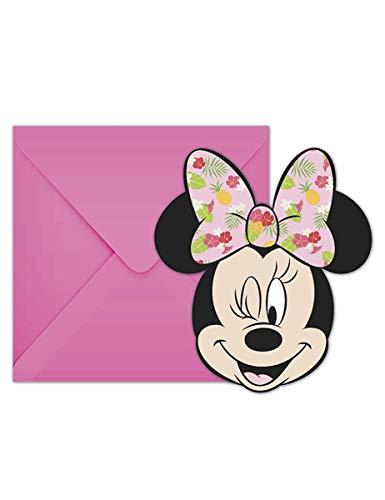 Minnie Maus Tropisch 6 Einladungskarten mit Umschlag