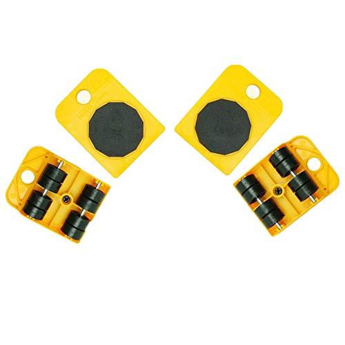 41OVXiTqEbL - WeFoonLo 1 juego de muebles elevador Herramienta de elevación y movimiento de muebles para electrodomésticos pesados, 1 barra de elevación y 4 rodillos móviles para muebles (Amarillo)