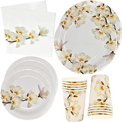 Floral White Magnolia Blossom Party Supplies Set 24 9' Paper Plates 24 7' Plate 24 9 Oz Cup 50 Lunch Napkin for Bridal Baby Shower Wedding Garden Spring Flower Birthday Tea Party Disposable Tableware