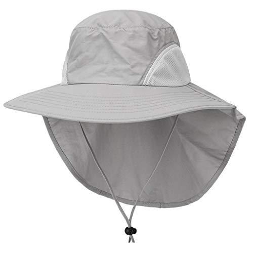 KUDICO Unisex Sonnenhut Breit Krempe mit Klappe Nackenschutz UV 50+ Outdoor Eimer Hut für Fishing Hiking Strand Gartenarbeit Visoren hüte(Hellgrau, One Size)