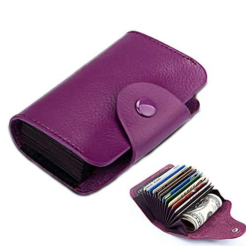 Simple Fashion - Bolsa de tarjetas de órgano de piel auténtica para tarjetas de color caramelo - AEO PingGongHuaKeJiYouXianGongSi (color: púrpura)