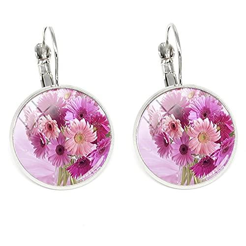 Vintage Flores Pendientes Hermosas imágenes Cabujón de cristal cúpula Clip Pendientes 2018 Moda mujeres encantos Joyería