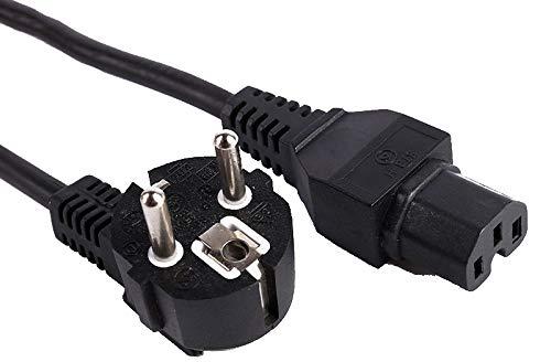 PremiumCord Netzkabel 230V 2m, Stromkabel mit Schutzkontakt gewinkelt auf Warmgerätebuchse C15, IEC 320, PC Netzkabel 3 Polig, Farbe schwarz