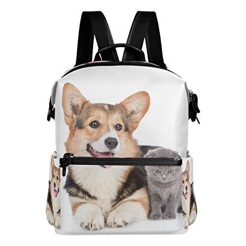 Mochila escolar grande acostada Corgi pequeño gatito mochilas casual viaje básico estudiante libro bolsa para niños niñas niños