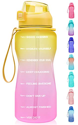 Fidus Large Half Gallon/64oz Motivational Water Bottle with Time Marker & Straw,Leakproof Tritan BPA Free Water Jug,Ensure You Drink Enough Water Daily for Fitness-Yellow/Pink Gradient