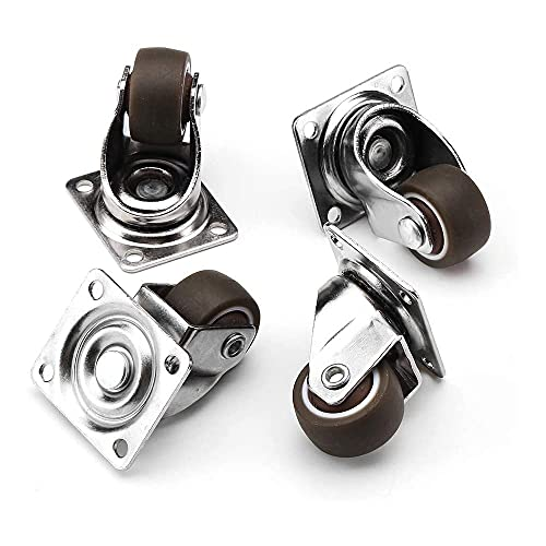 Ruote di ruote, 4 confezioni da 25 mm / 1 pollice Gomma a gomma girevole con ruote a gettoni singola con borse a sfere a base di gomma ruote da poltroncino a sfera, ruota universale per mobili per acc